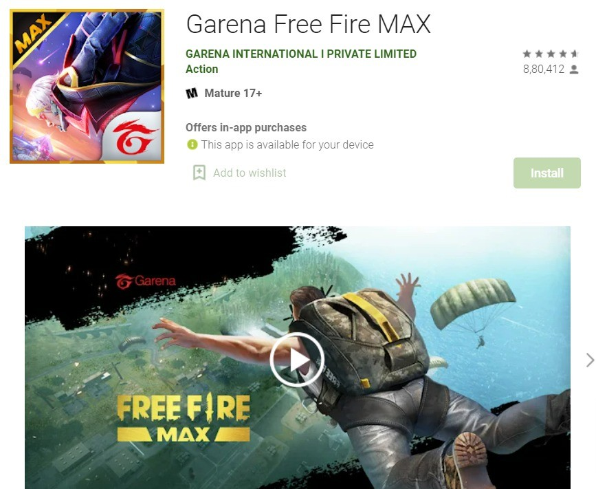 Garena Free Fire MAX App Download on Google Play Store